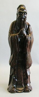 "Large Vintage 20.5"" Chinese Hand-Carved Wood Figure of Elder c. 1950s"