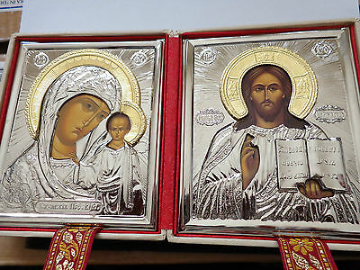 Russian Wedding Travel Diptych Virgin of Kazan & Christ  GOLD SILVER ICON