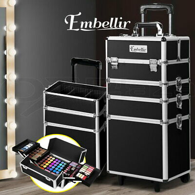 7 In 1 Portable Cosmetics Beauty Case Makeup Box Carry Bag Organiser Trolley