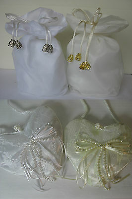 Ivory or white organza dolly bags or heart lace bag wedding communion bridesmaid