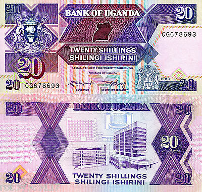 UGANDA 20 Shillings Banknote World Paper Money UNC Currency p29b Africa Note