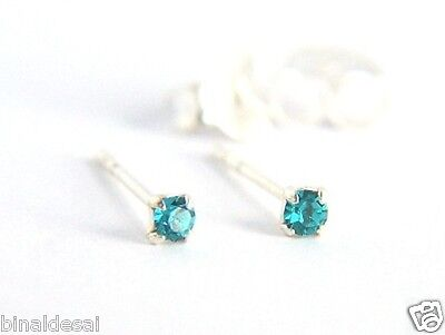 925 Sterling Silver 1.5mm Small Extra Tiny Turquoise Crystal Stud Earrings nose