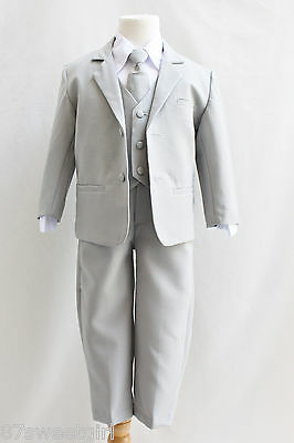 Boy Toddler Teen Gray Silver Ring Bearer Recital Bridal Party Tuxedo Formal Suit