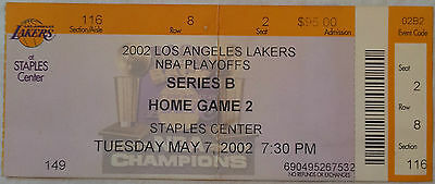 2002 LOS ANGELES LAKERS NBA PLAYOFFS GAME 2 VS SAN ANTONIO SPURS TICKET STUB