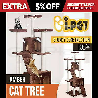 Cat Scratching Post Tree Scratcher Gym House Furniture Pole Toy Large 185cm BR