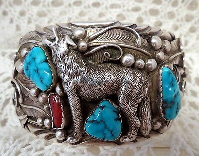 Fannie Platero Navajo Sterling Howling Wolf Turquoise Red Coral Cuff Bracelet
