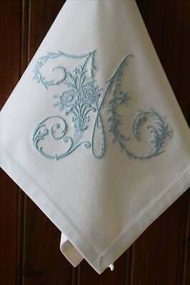 Personalised Embroidered Monogram Linen Napkin Serviette All Initials & Colours