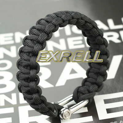 Black Paracord Parachute Cord 550 Military Survival Bracelets Stainless Shackle