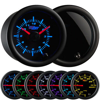 "52mm or 2 1/16"" GlowShift Tinted 7 Color LED Clock Gauge Analog Meter - GS-T718"
