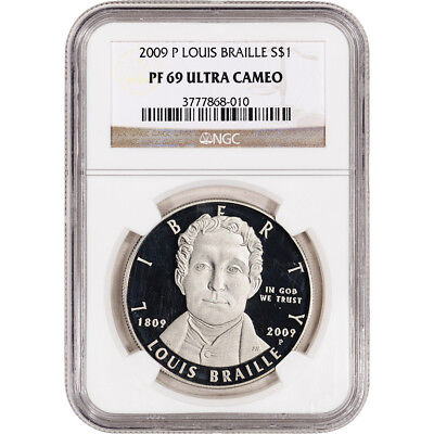 2009-P US Louis Braille Commemorative Proof Silver Dollar - NGC PF69 UCAM