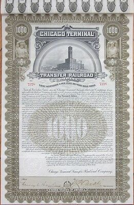 1897 Gold Bond Certificate: 'Chicago Terminal Transfer Railroad Company' RR