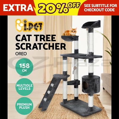 Cat Scratching Post Tree Gym House Scratcher Pole Furniture Toy Medium 158cm GR