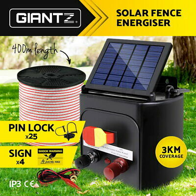 3km Solar Electric Fence Energiser Power Charger 0.1J Farm Poly Tape Insulator