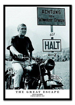 Framed The Great Escape Steve Mcqueen Poster Ready To Hang Frame New