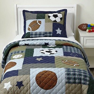 SPORTS STAR Twin (single) QUILT SET : COLLAGE PATCH BOY FOOTBALL SOCCER BASEBALL