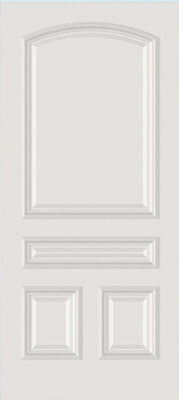 Custom Carved 4 Panel Arch Top Primed Solid Core Raised Molding Interior Doors