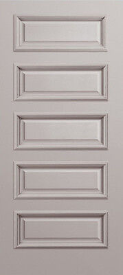 Custom Carved 5 Equal Panels Primed Solid Core Doors W/ Raised Molding #R5000