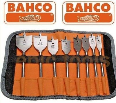 BAHCO 8 Piece 13-38mm Wood Flat/Spade Drill Bit Set & Storage Wallet,SB-9529/S8
