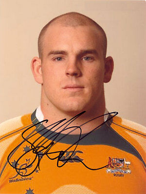 Stephen Moore, Australia rugby, Wallabies, signed 8x6 inch photo. COA. Proof.