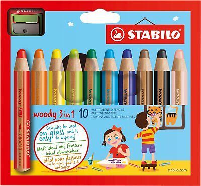 Stabilo Woody 3 In 1 -Buntstift & Wachsmalkreide In Einem - 10Er Set Mit Spitzer