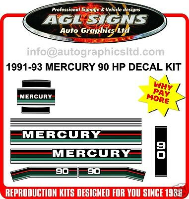 1991 1992 1993  MERCURY 90 hp OUTBOARD DECAL SET,   75 hp available