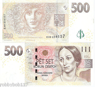 CZECH REPUBLIC 500 Korun Banknote World Money Currency Europe Bill p24 2009 Note