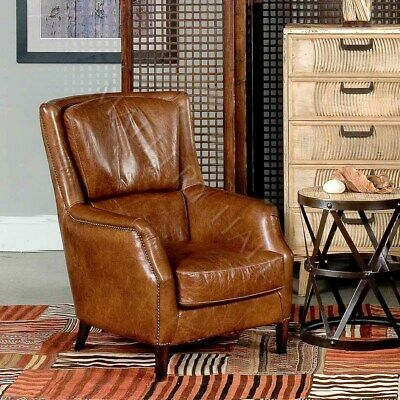 Vintage Distressed Leather Wing Club Office Chair