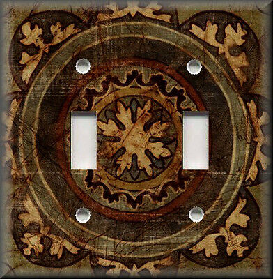 Metal Light Switch Plate Cover - Tuscan Distressed Medallion Brown Home Decor