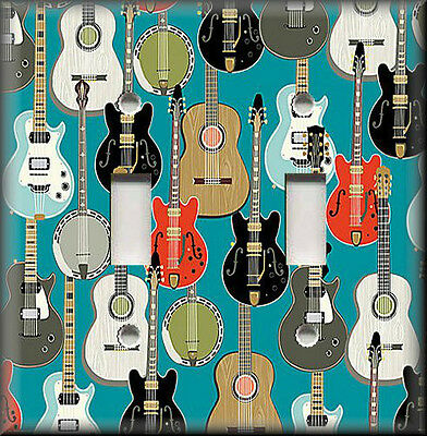 Light Switch Plate Cover - Guitars Pattern - Music Room Home Decor