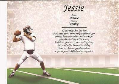 Personalized First Name Meaning Football Gift for Football Coach, High School
