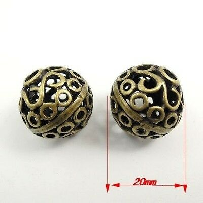 10X  Vintage Style Bronze Tone Spacer Beads Jewelry Findings 20*20*20mm