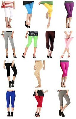 Girl's Cotton Lycra Crop 3/4 Leggings Stretchy For Casual/Sport/Active