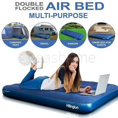 New Inflatable Double Flocked Air Bed Airbed Mattress Camping Indoor Outdoor