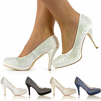 New Ladies Diamante High Heels Bridal Prom Evening Party Shoes Size 3-8