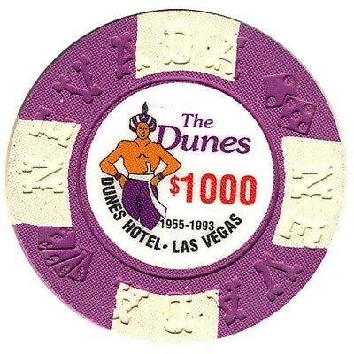 The Dunes Hotel and Casino $1000 Bill Borland Commemorative Chips Las Vegas NV *