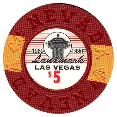 Landmark Hotel and Casino $5 Bill Borland Commemorative Chips Las Vegas Nevada*
