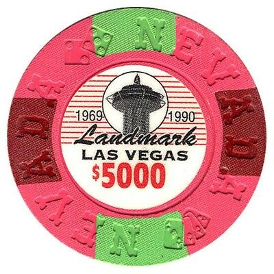 Landmark Hotel and Casino $5000 Bill Borland Commemorative Chips Las Vegas NV *