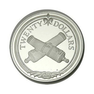 elf Br Virgin Isl 20 Dollars 1985 Silver Proof Crossed Cannons