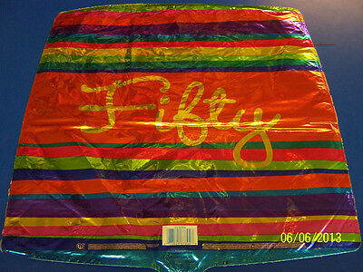 Birthday Stripes Fifty Bright 50th Party Foil 18 Square Mylar Balloon