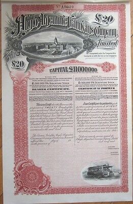 1911 Railroad/Trolley Bond Certificate: Anglo-Argentine Tramways, Argentina- Red
