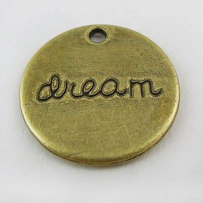 30X Antiqued Style Bronze Tone Word Dream Round Moon Pendant Charm 20*20*2mm