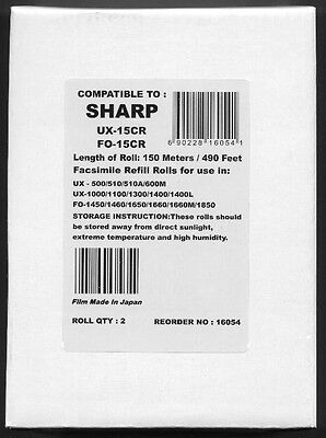 2-pack of UX-15CR Fax Refills for Sharp UX-1000 UX-1100 UX-1150M UX-1300 UX-1400