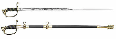 Cold Steel US Naval Officer's Sword w/ Ray Skin Handle & Leather Scabbard 88MNAL