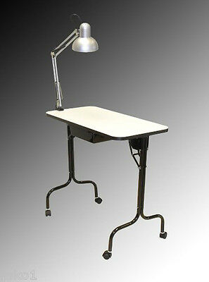 Pibbs 974 Portable Manicure Table Includes Lamp On Wheels Folding Legs