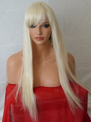 Pale Blonde Wig Fashion long straight full wig with fringe party Ladies Wig N-5