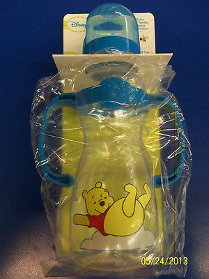 Winnie the Pooh Plastic Feeding Bottle w/Handle Baby Shower Party Gift - Blue