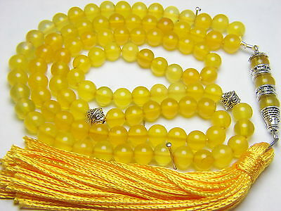 6mm x99 YELLOW AGATE Akeek Plasi PRAYER BEADS ISLAMIC TASBIH MASBAHA SUBHA GIFT