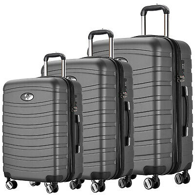 REISEKOFFER 4 tlg. TROLLEY 360° KOFFER SET KOFFERSET BEAUTYCASE Anthrazit