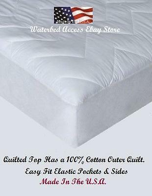 Two Cotton Mattress Pads for California King Hardside Waterbed Mattresses