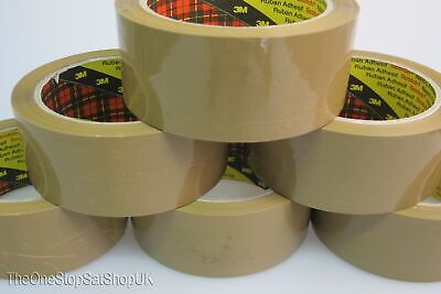 6 x 3M 371 Scotch Buff Brown Parcel Packing Packaging Tape 48mm x 66m
